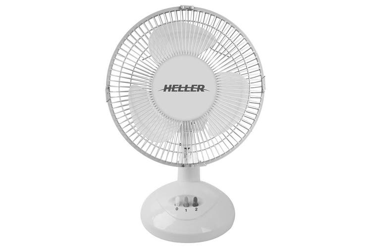 Heller HHDF23S 23cm Desk Fan 2 Speed/Air Cooler/Cooling/Tilt/Oscillating White