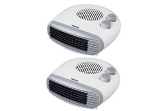 2PK Heller 2400W Electric Portable Low Profile Floor Fan Heater w/ 2 Heating Set
