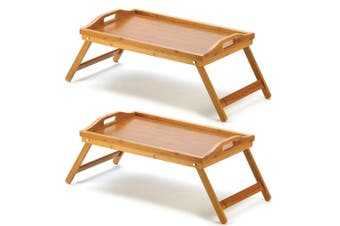 2x Bamboo Folding Food/Breakfast/Dinner Bed Tray Lap Desk Serving Table