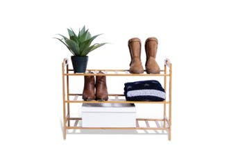 3 Tier Bamboo 68x51cm Wooden Shoe Rack/Storage Stand Shoes Home Organiser
