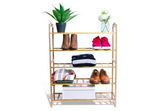 5 Tier Bamboo 68x90cm Wooden Shoe Rack/Storage Stand Shoes Home Organiser
