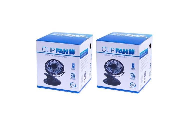 2PK 360° Cordless Rechargeable Portable 17cm Cooling Clip Fan Home/Work Desk