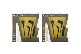 2PK Scosche HP253M Noise Isolation Earbuds Earphones Headset w/ Remote Mic Black