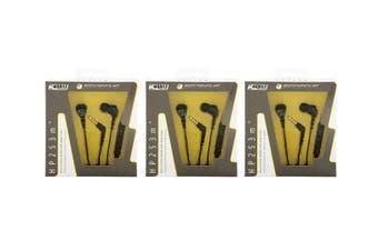 3PK Scosche HP253M Noise Isolation Earbuds Earphones Headset w/ Remote Mic Black