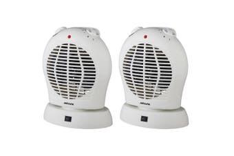 2PK Heller 2000W Electric Portable Upright Oscillating Floor/Desk Fan Heater