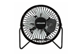 Heller 10cm High Velocity 1 Speed Mini Metal Office Desk/Table Fan w/ USB Black