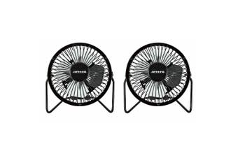 2x Heller 10cm High Velocity 1 Speed Mini Metal Office Desk/Table Fan w/ USB BLK