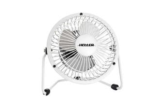 Heller 10cm High Velocity 1 Speed Mini Metal Office Desk/Table Fan w/ USB White