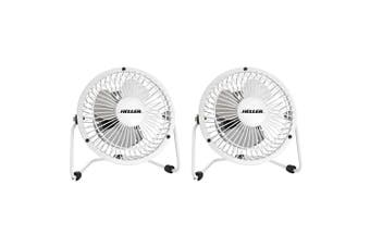 2x Heller 10cm High Velocity 1 Speed Mini Metal Office Desk/Table Fan w/ USB WHT