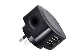Sansai Dual USB Port Adapter Wall Charger 2.1A for Smartphones Apple Samsung BLK