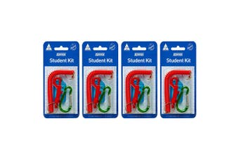 4x 4pc Kevron School ID Student Card/Tag Holder Kit/Carabiner Assorted Colour