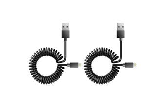 2x Sansai 1.5m Lightning to USB Sync/Charging Coiled Cable for iPad/iPhone BK