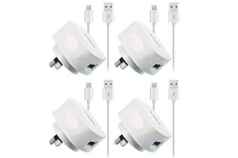 4x Sansai USB Wall Charger w/Charging Cable for Lightning Apple iPhone 8 X iPod