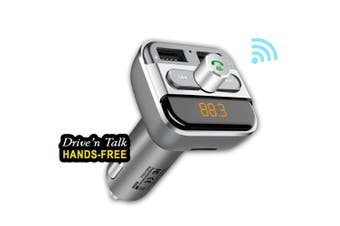 Sansai Bluetooth Car Kit Dual Port Hands Free Drive n Talk FM Transmitter w/ Mic