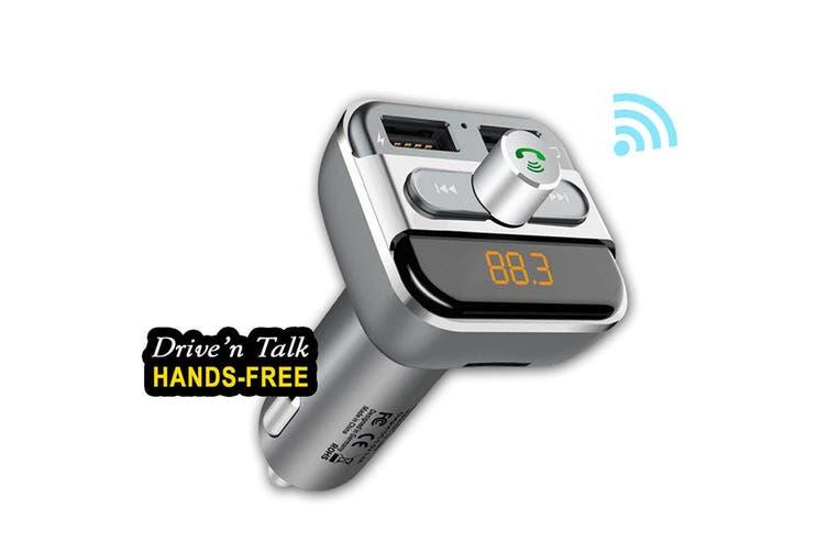 Sansai Bluetooth Car Kit Dual Port Hands Free Drive n Talk FM Transmitter w/ Mic