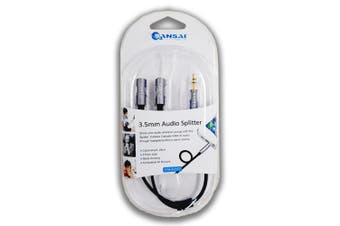 Sansai 3.5mm Aux Audio Splitter Cable Adapter/Jack f/ Headphones/Earphones Black