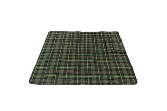 Picnic Tartan Rug 130cm x 150cm w/ Carry Handle Strap/Waterproof Backing Green