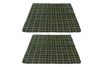 2x Picnic Tartan Rug 130x150cm w/ Carry Handle Strap/Waterproof Backing Green