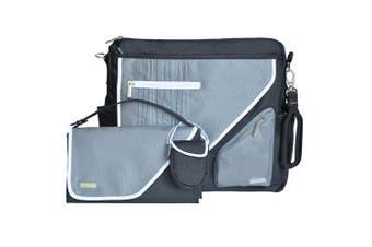Jj Cole Black Stitch Diaper/Nappy Bag/Changing Mat Pad/ w/Pram Stroller Holder