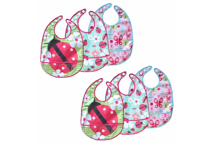 6pc JJ Cole Bibs Baby/Toddler Feeding Saliva/Drool Burp Towel Pink Flutter Set