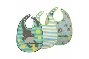 3pc JJ Cole Bibs Baby/Toddler Feeding Saliva/Drool Burp Towel Gray Safari Set