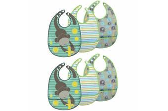 6pc JJ Cole Bibs Baby/Toddler Feeding Saliva/Drool Burp Towel Gray Safari Set
