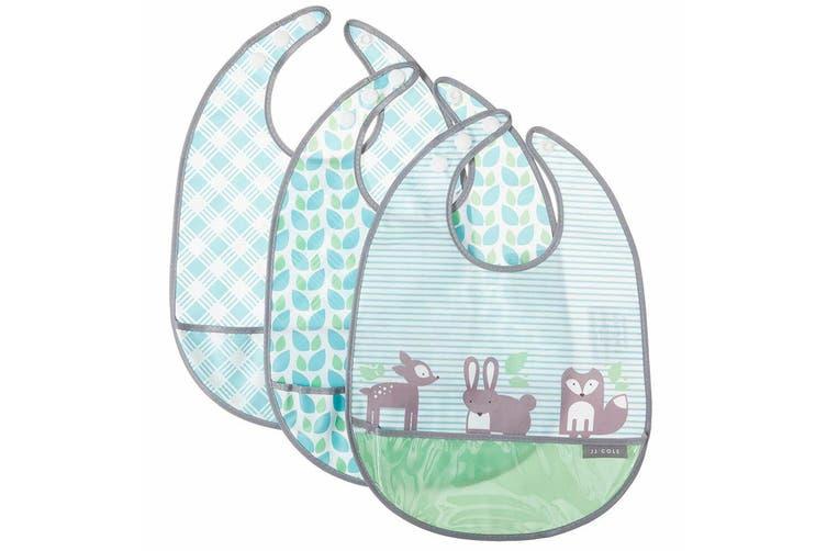 3pc JJ Cole Bibs Baby/Toddler Feeding Saliva/Drool Burp Towel Forest Fauna Set