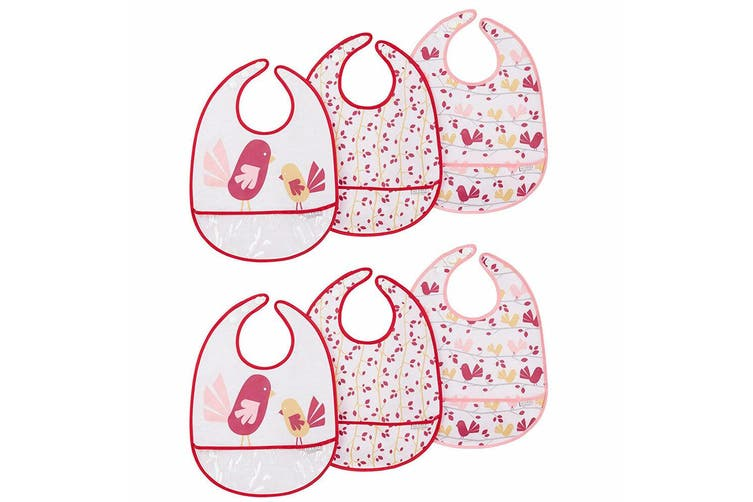 6pc JJ Cole Bibs Baby/Toddler Feeding Saliva/Drool Burp Towel Chickadee Set PK