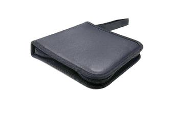 Portable CD DVD Storing Wallet Leather Case Pouch w/ 24 Sleeve/Fabric lining BK
