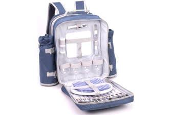 Safari 4 Person Picnic Bag Set/Backpack Wine Glasses Cutlery/Knives/Forks/Spoons