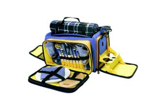 2 Person Picnic Set/Shoulder Bag Plates/Cutlery/Wine Glasses Blanket Cup Holders