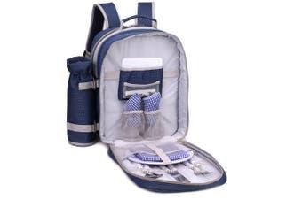 Safari 2 Person Picnic Bag Set/Backpack Wine Glasses Cutlery/Knives/Forks/Spoons