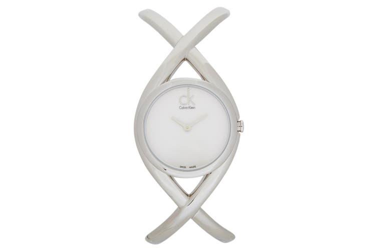 Genuine Calvin Klein Women 30mm Enlace Round Stainless Steel Watch Silver/White