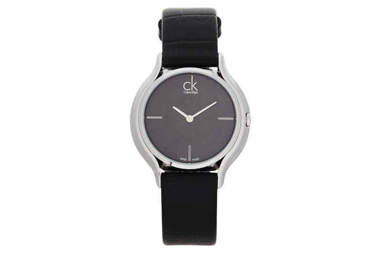 Calvin Klein Women's 33mm Round Wrist Watch w/Skirt Leather Band Black/Silver