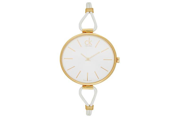 Calvin Klein Women's 38mm Selection Leather Round Wrist Watch White/Gold