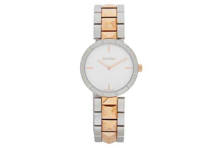 Calvin Klein Women's Round Stainless Steel Edge Wrist Watch Silver/Rose Gold