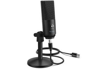 Fifine Technology USB Condenser Broadcast/Podcast Microphone w/Desk Stand Black