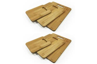 2x 3PK Bamboo Chopping Cutting Boards Kitchen Wooden Serving Board Platter Brown