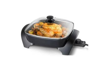 "Kambrook 1800w 12"" Square Electric Frypan/Pot Pan Cooker w/ Lid/Dishwasher Safe"