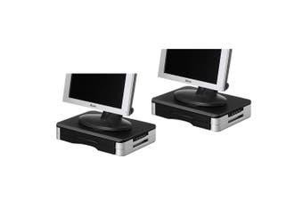 2PK Cumberland Adjustable 39cm Monitor/Printer Stand w/Storage Drawers/USB port