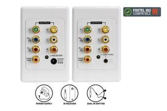 Component Cat5/Cat6 Extender Wall Plate + IR KIT RGB YUV YPbPr/ Coaxial Audio