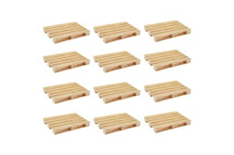 12PK Mini Wooden Pallet Glass Coasters/Mats For Beverages Drinks Beers Home/Bar