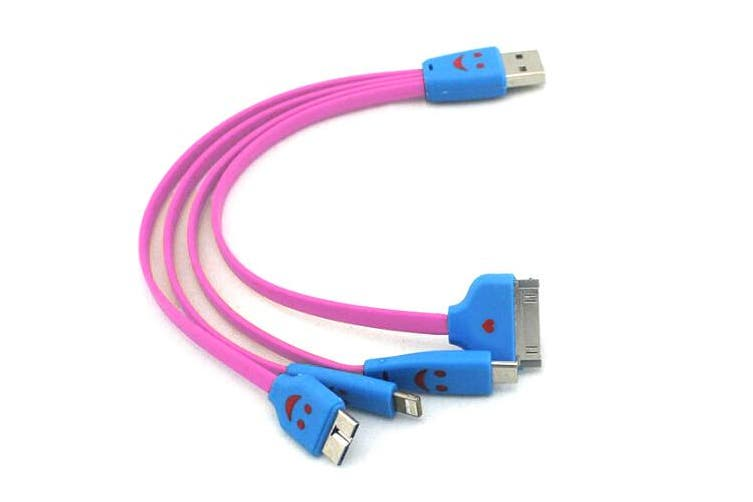 4-in-1 20cm Multi USB Charging Cable Cord for iPhone/Samsung/Android Smiley Pink