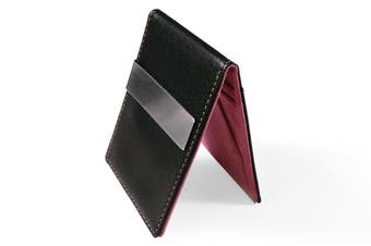 Ultra Slim Men Women PU Leather Wallet Money/Cash Clip Card Holder Grape PP/BLK