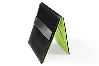 Ultra Slim Men Women PU Leather Wallet Money/Cash Clip Card Holder Green/Black