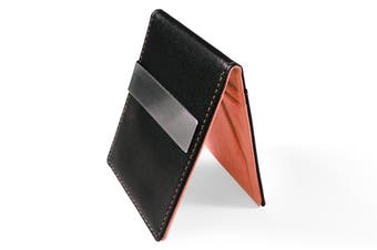 Ultra Slim Men Women PU Leather Wallet Money/Cash Clip Card Holder Orange/Black