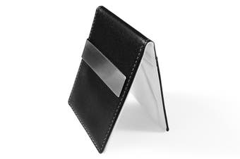 Ultra Slim Men Women PU Leather Wallet Money/Cash Clip Card Holder White/Black