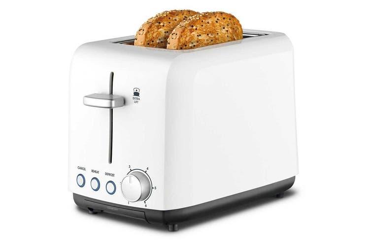 Kambrook 2 Slice 900W Wide Slot Plastic Toaster/Toast/Bread/Loaf KTA120WHT White