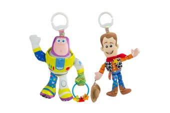2PK Lamaze Toy Story Clip & Go Baby/Infant Activity Toy Teether 0m+ Buzz & Woody