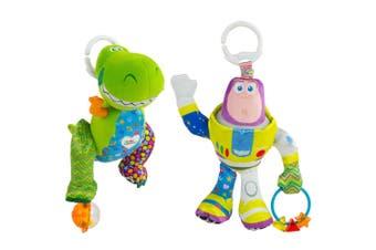 2PK Lamaze Toy Story Clip & Go Baby/Infant Activity Toy Teether 0m+ Buzz & Rex
